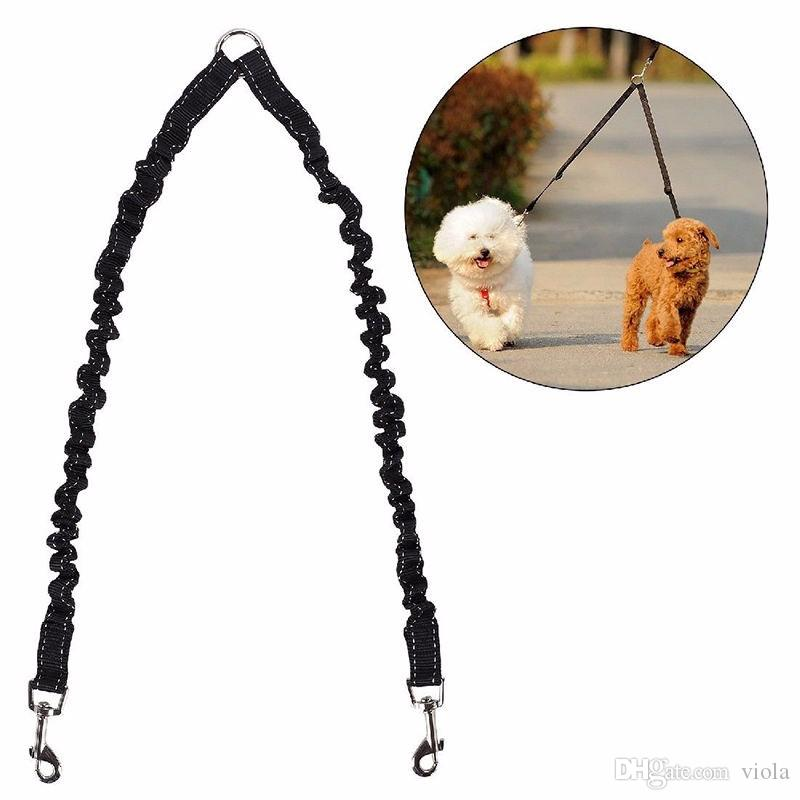 Dog Puppy Double Lead Double Splitter Reflective Bone Design Double Coupler