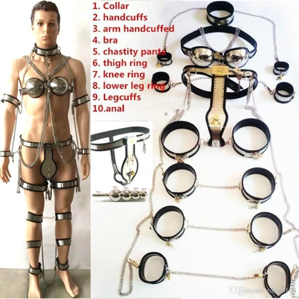 10pcs Sets Stainless Steel Male Chastity Belt Device Anal Plug Collar Bra Arm Wrist Cuffs Thigh Knee Shank Ankle Ring Bondage Bdsm Sex Toy