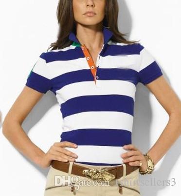 무료 배송! 2020 도매 새로운 브랜드 큰 말 3 # 고체 짧은 소매 100 %면 여름 여성의 스트라이프 슬림 폴로 셔츠