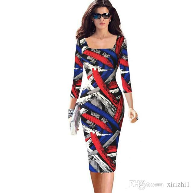 2017 European New Women Bodycon Dress Plaid Three Quarter Sleeves Colorful Stripes Graffiti Print Pencil Dress Plus Size