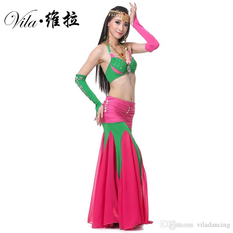 Quality Sexy Belly Dance Costume Set Suit Women Adult Beaded Indian Bollywood Dance Costume Long Belly Mermaid Skirt Top Sleeves Set