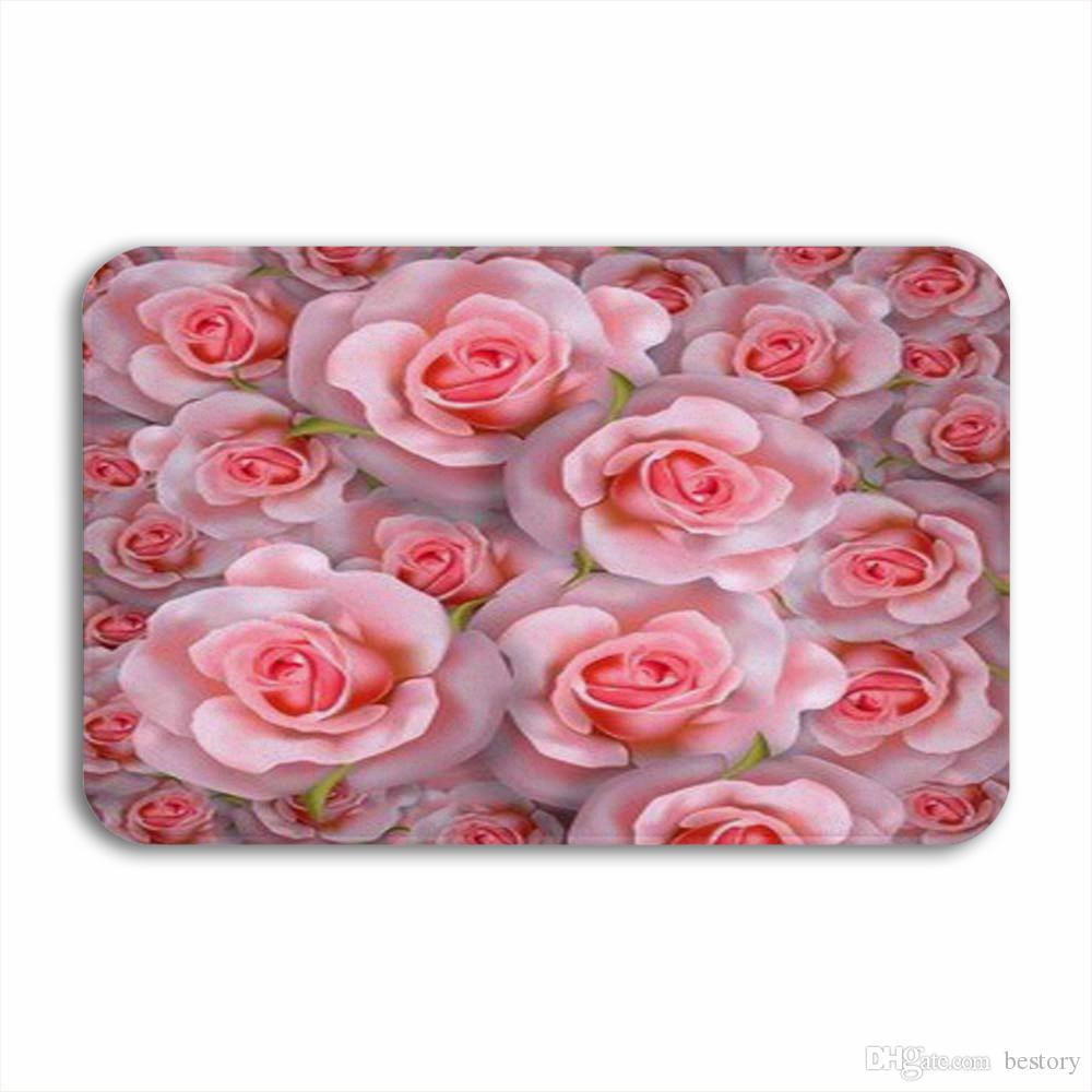 Vixm 3D Beautiful Romantic Background With Realistic Pink Rose Welcome Door Mat Rugs Flannel Anti-slip Entrance Indoor Kitchen Bath Carpet