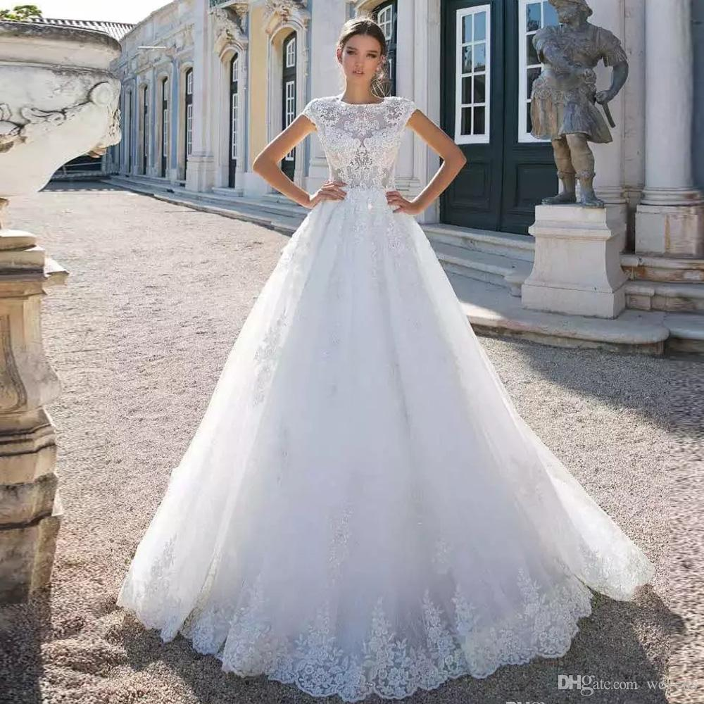 Classic White Ball Gown Wedding Dress See Through Top Lace Princess Bridal Dresses Lace Appliques Button Back Wedding Gowns