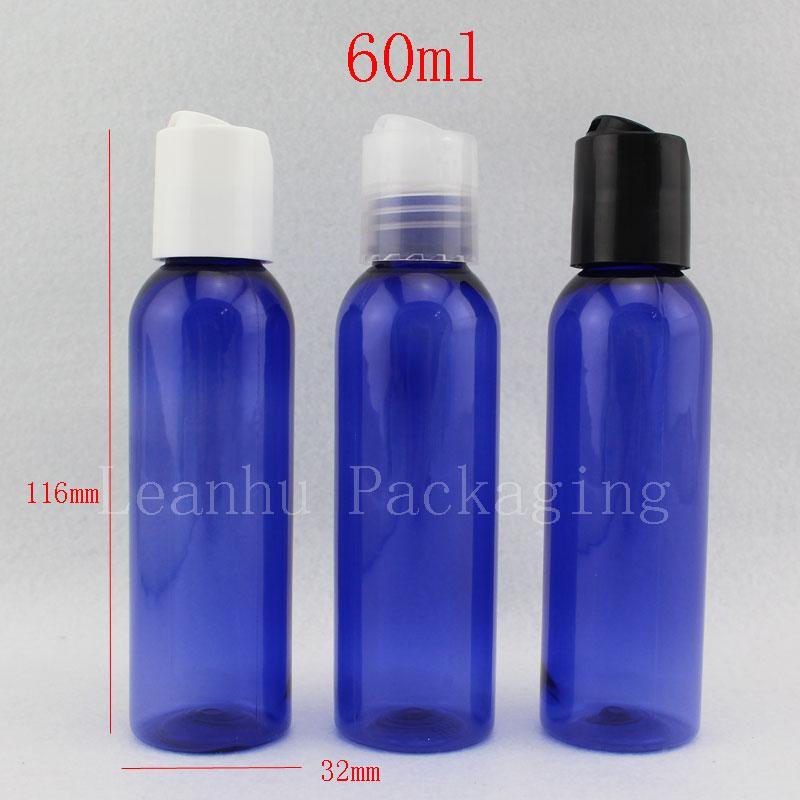Yüksek miktar 50pc / çok 60 ml sıvı ve losyon krem, kozmetik krem şişe için diskin üst kapak, mavi bir şişe,