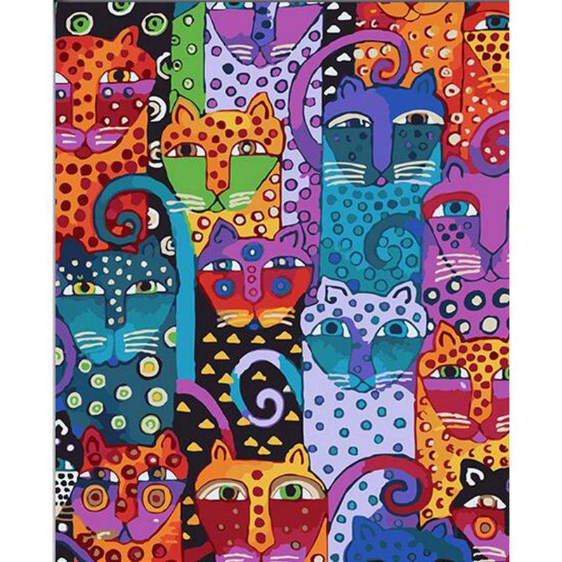 Imagem na parede acrílico cat desenho pintura a óleo by numbers presente abstrato diy linda linda coloração por números canvas v51