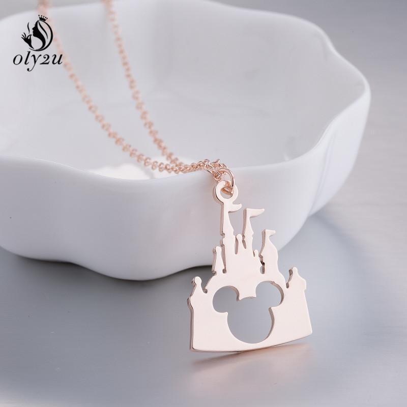 Oly2u collane in acciaio inox ciondolo castello catena mouse collana gioielli abbigliamento donna accessori partito regalo di natale