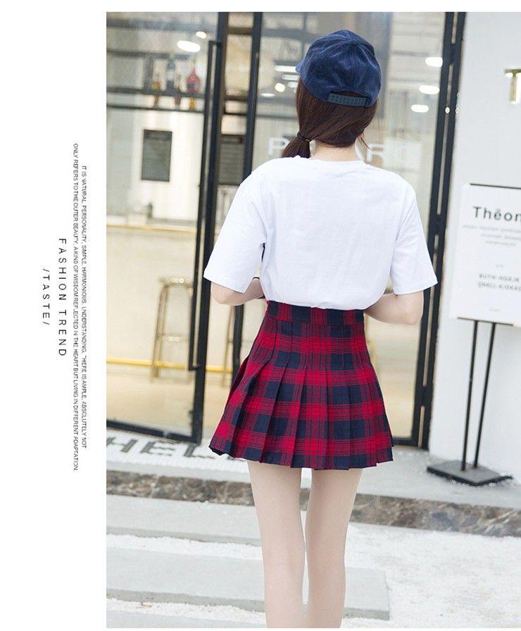 Fashion Summer Skirt Women 2018 Ete Skirts Casaul Pleated Ladies Skirts High Waist Mini Skirt Female Skirt Plaid Saia Jupe Femme (15)