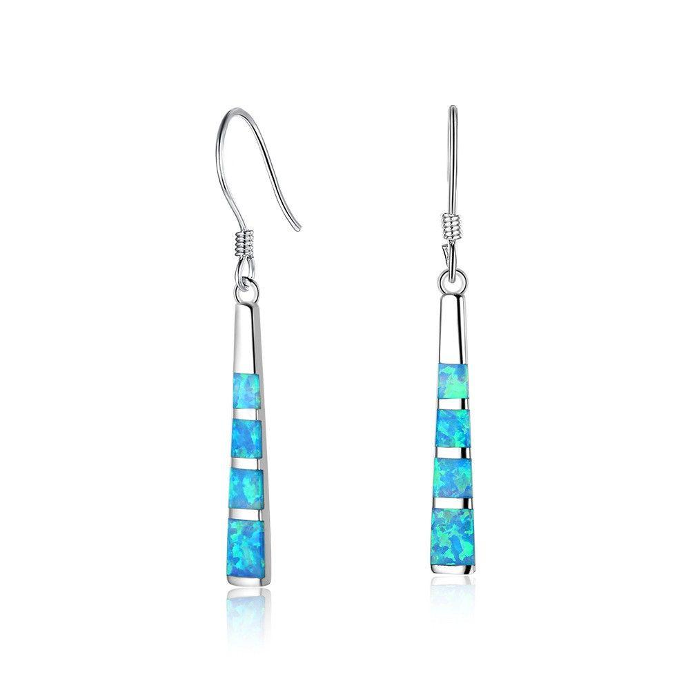 EA102111 calidad popular superior del gancho del oído de las borlas de plata de ley 925 Pendientes de pescado con Simluated ópalo azul para las niñas