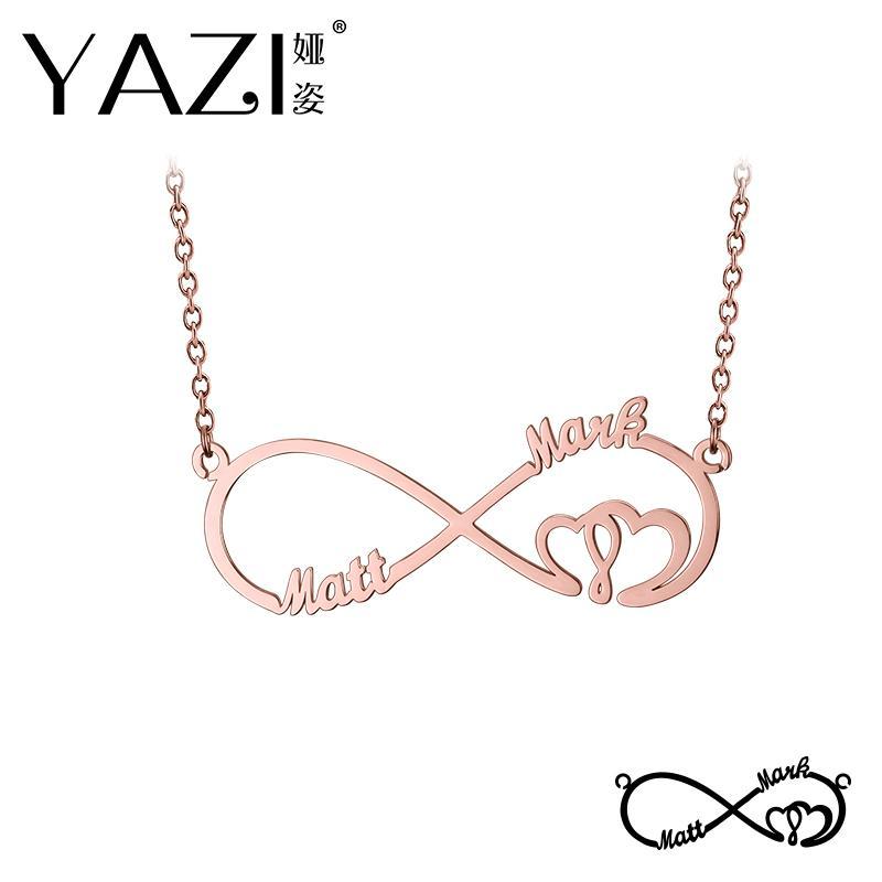 YAZI Custom Infinity Necklace Grabado Dos Nombre En Collar de Color Oro Plateado de Cobre Joyería Personalizada Regalo de la Memoria del Día de San Valentín