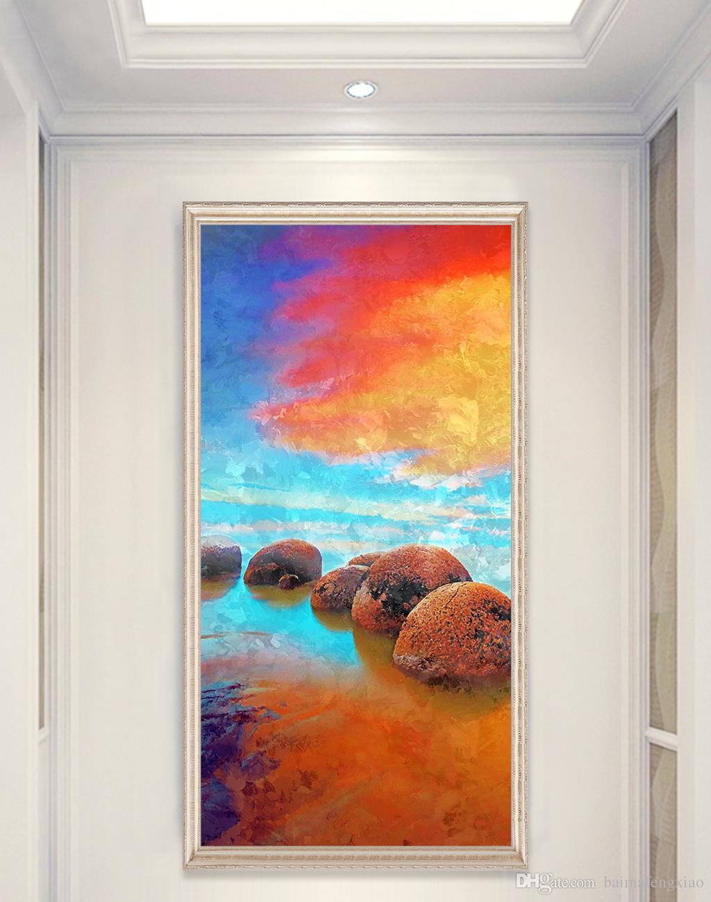 ZYXIAO Posterler ve Baskılar manzara sunrise seaside modern Yağlıboya Tuval Hiçbir Çerçeve Duvar Resimleri için Oturma Odası Ev Dekorasyon ys0101