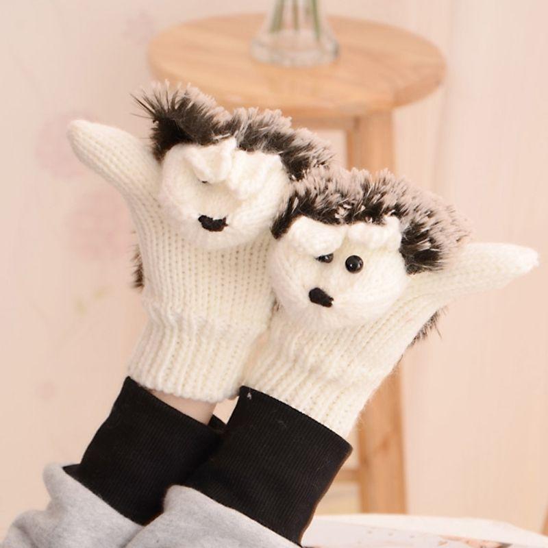New 8 Colors Girls Novelty Cartoon Winter Gloves for Women Knit Warm Fitness Gloves Hedgehog Heated Villus Wrist Mittens Y18102210