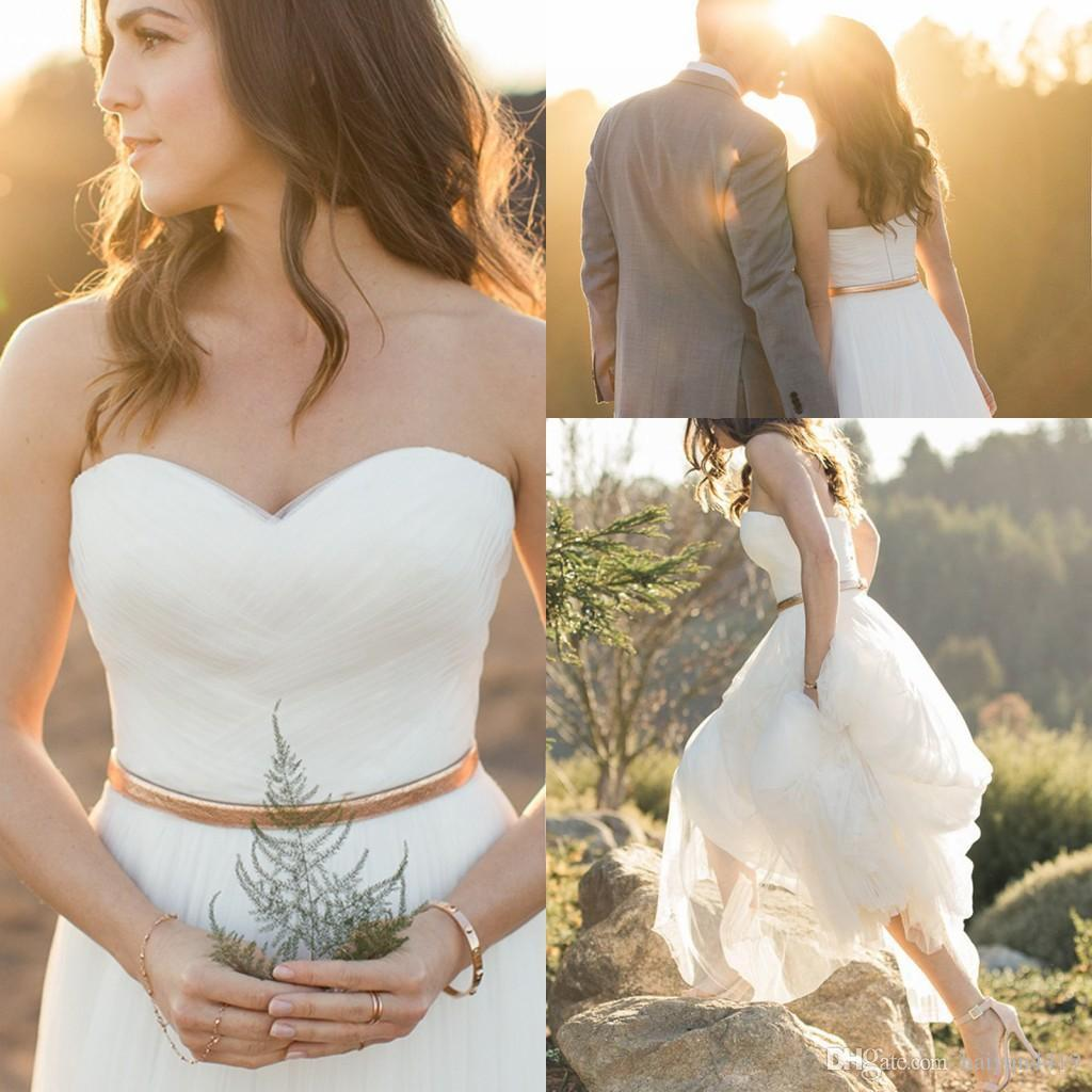 2018 New Country Style A Line Wedding Dresses Sweetheart Tulle Summer Beach Wedding Gowns Floor Length With Gold Belt Custom Bridal Dress