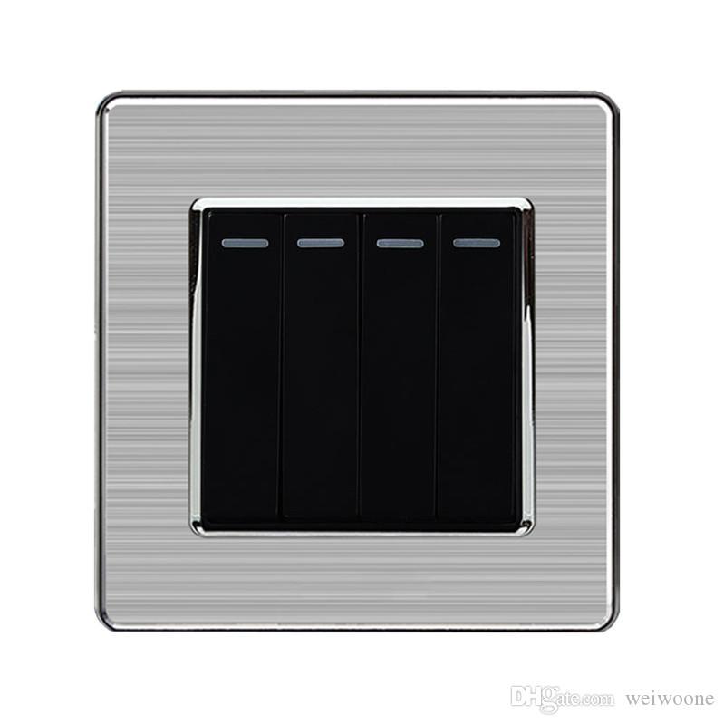 Interruttore a parete 4 vie / 2 vie a parete in acciaio inox e interruttore 220-250V