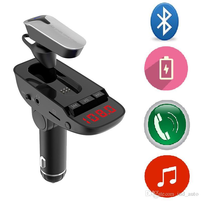Wireless Car MP3 Player With Bluetooth Headset CSR4.2 Earphones FM Transmitter Car Kit With Dual USB Charger Support TF Card/Usb Player AUX