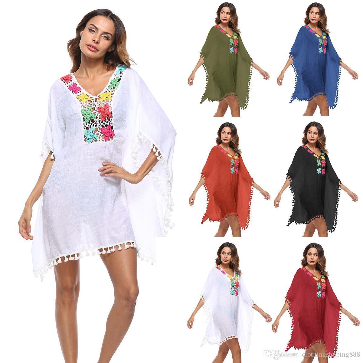 2018 nouvelle couverture crochet bikini sexy chemise grande taille couleur lanterne robe pompon creux couvrante plage chemise coton d'été Haut