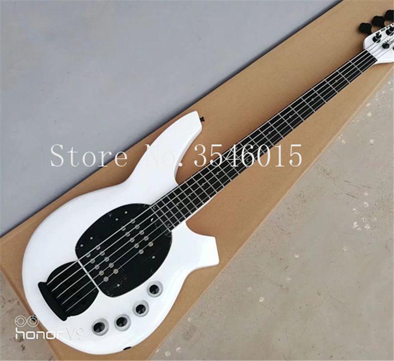 High Qulity Music Man Bongo Metal bianco 5 corde Pickup attivi Bass Guitar Musicman Bass Guitar Spedizione gratuita