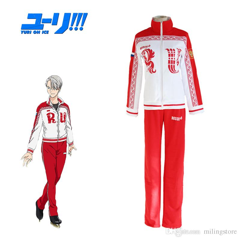 유리! On Ice 코스프레 Victor Viktor Nikiforov 학교 유니폼 스포츠 정장 재킷 탑 바지 Japanese Anime Costume