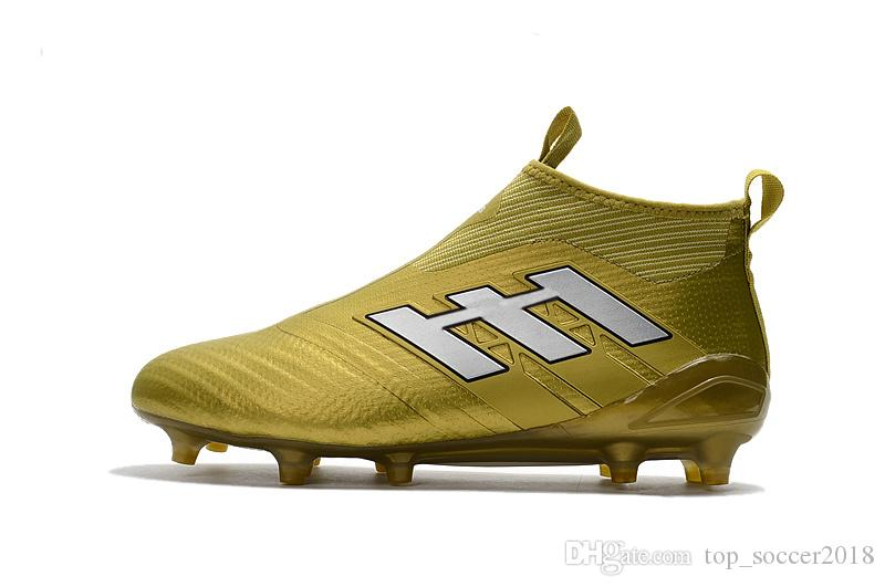 Gold Messi Soccer Cleats ACE Tango 17+ Purecontrol Outdoor Soccer Shoes Mens Soccer Boots Best Qaulity 100% Original Football Boots