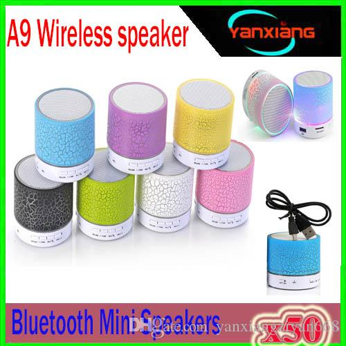 50pcs Mini Speaker Wireless Speakers LED Colored Flash A9 Handsfree Wireless Stereo Speaker FM Radio TF Card USB For iPhone Mobile YX-A9-03