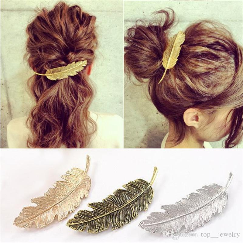 Hot Sale 2018 new brand jewelry retro exaggerated alloy feather hairpin leaves leaf side clip spring horsetail hairpin wholesale