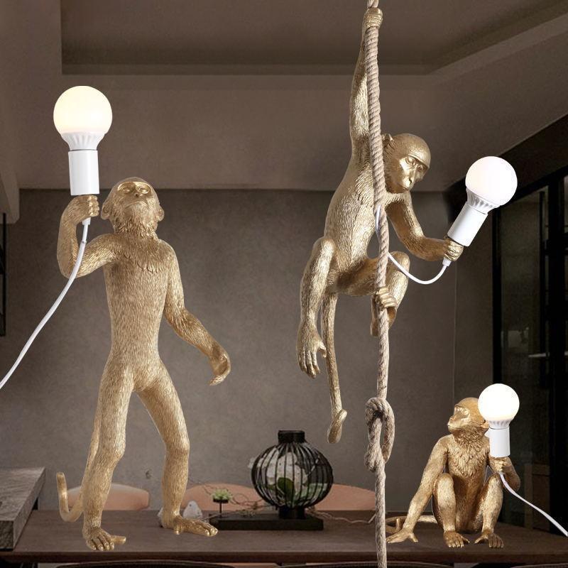 Современная смола обезьяна конопляный веревка подвесной светильник промышленная гостиная столовая спальня подвесная лампа лампы люстры PA0209