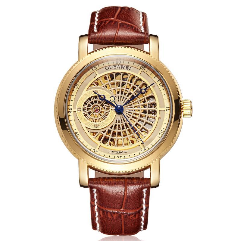 OUYAWEI Relojes de lujo para hombre Reloj mecánico automático Hombres Cuero negro Negocio Impermeable Moda Deporte Esqueleto Reloj OYW05