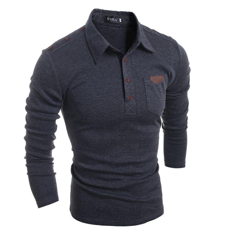 Męskie ubrania Solidne kolorowe koszule z długim rękawem Męskie skręć kołnierzowe wierzchołki z kieszeni na przyciski