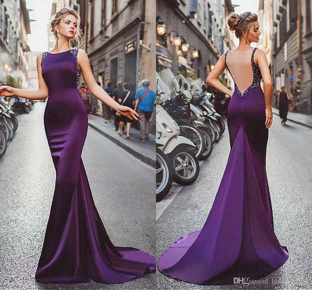 großhandel backless purple abendkleider formale kleider jewel neck crystal  strass mermaid satin lange günstige prom pageant kleid kleid sexy von