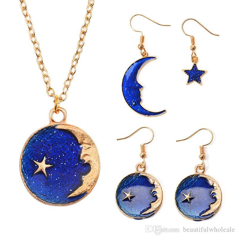 Collares de moda Pendientes Dream Planet Pendientes Chica Pendientes con estrella azul Collares pendientes largos de Asy Joyas exclusivas Regalo para MOM   HIJA