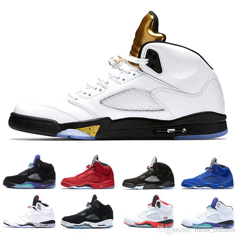 Novo 5 5 s Olímpico Sapatos De Basquete Homens Ouro Olímpico Tongue Metálico Medalha de Moedas de Ouro Branco 5s Sneakers tamanho 8-13 Com Caixa