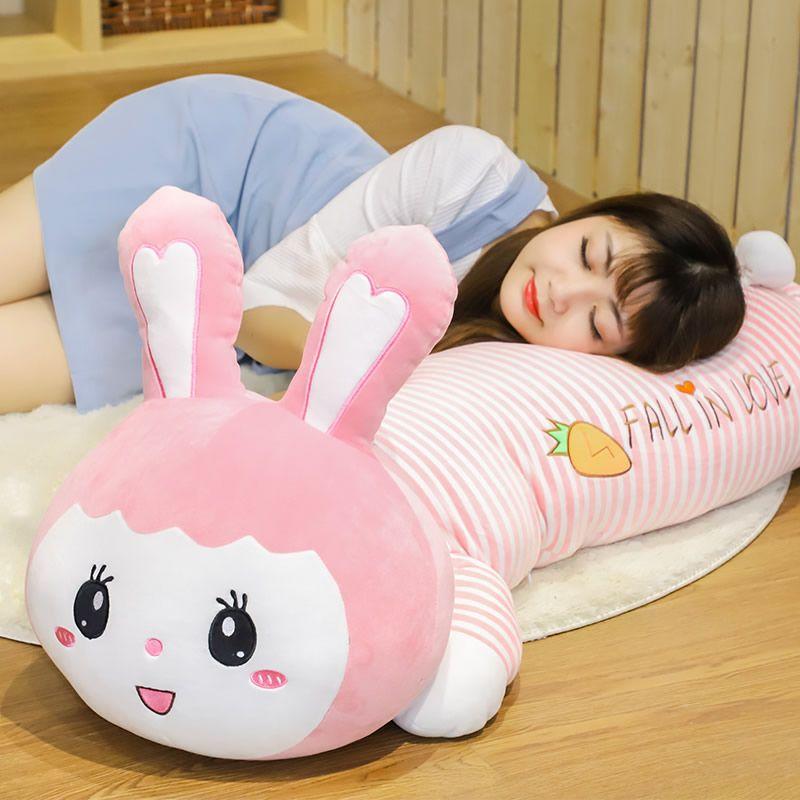 Sevimli tavşan peluş oyuncak bebek büyük kawaii yumuşak bunny bebek uyku yastık doğum günü hediyesi kız mevcut decoraton 100 cm 120 cm DY50322