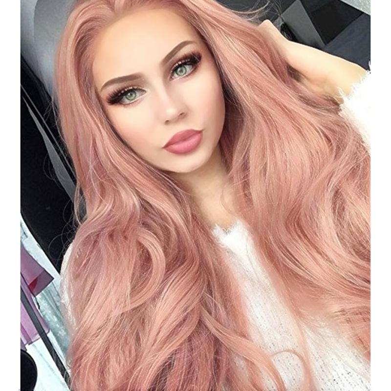 Novo Estilo Cosplay Rose Gold Beauty Longo Ondulado Dianteira Do Laço Sintético Perucas Peach Pink Cor de Alta Temperatura Perucas de Renda Frente Para As Mulheres