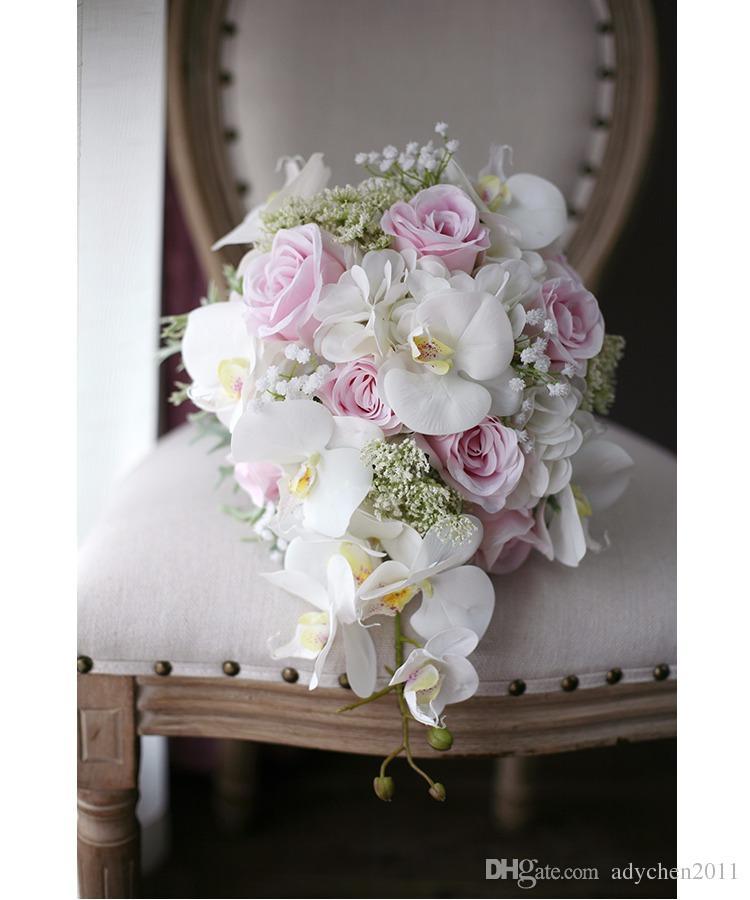 Romantische Elfenbein Pink Cascading Brautsträuße De Mariage Rosen Orchidee Kunstseide Blume handgefertigten Hochzeitsstrauß 2018 ramo de flores