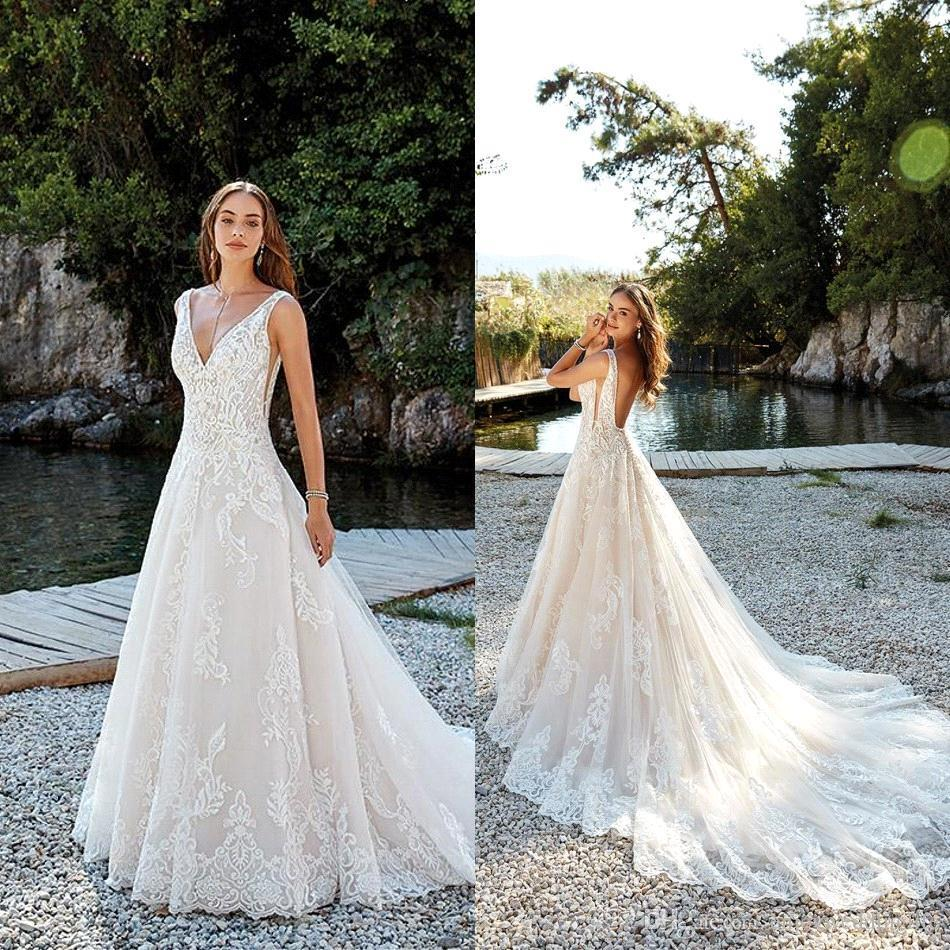 2018 Romantic Summer Beach Backless A Line Wedding Dresses 2019 New Sweep Train Deep V Neck Lace Bridal Gowns Robe de soriee BA9878