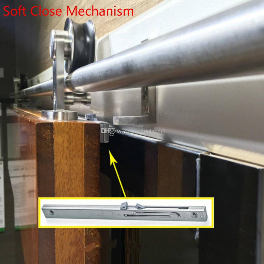 6.6FT لينة وثيقة آلية الحديثة الداخلية نحى الفولاذ المقاوم للصدأ انزلاق باب الحظيرة الأجهزة المسار مجموعة كيت