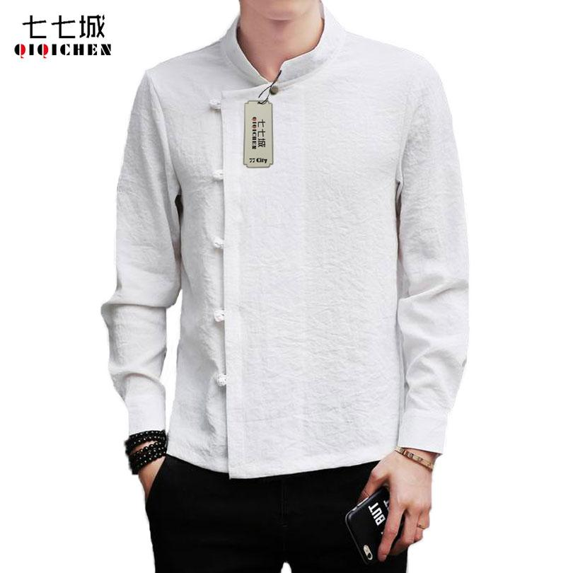 Chinese Traditional Spring White Linen Shirts Men Shirt Long Sleeve Mandarin Collar Solid Casual Retro Tang Suit clothes