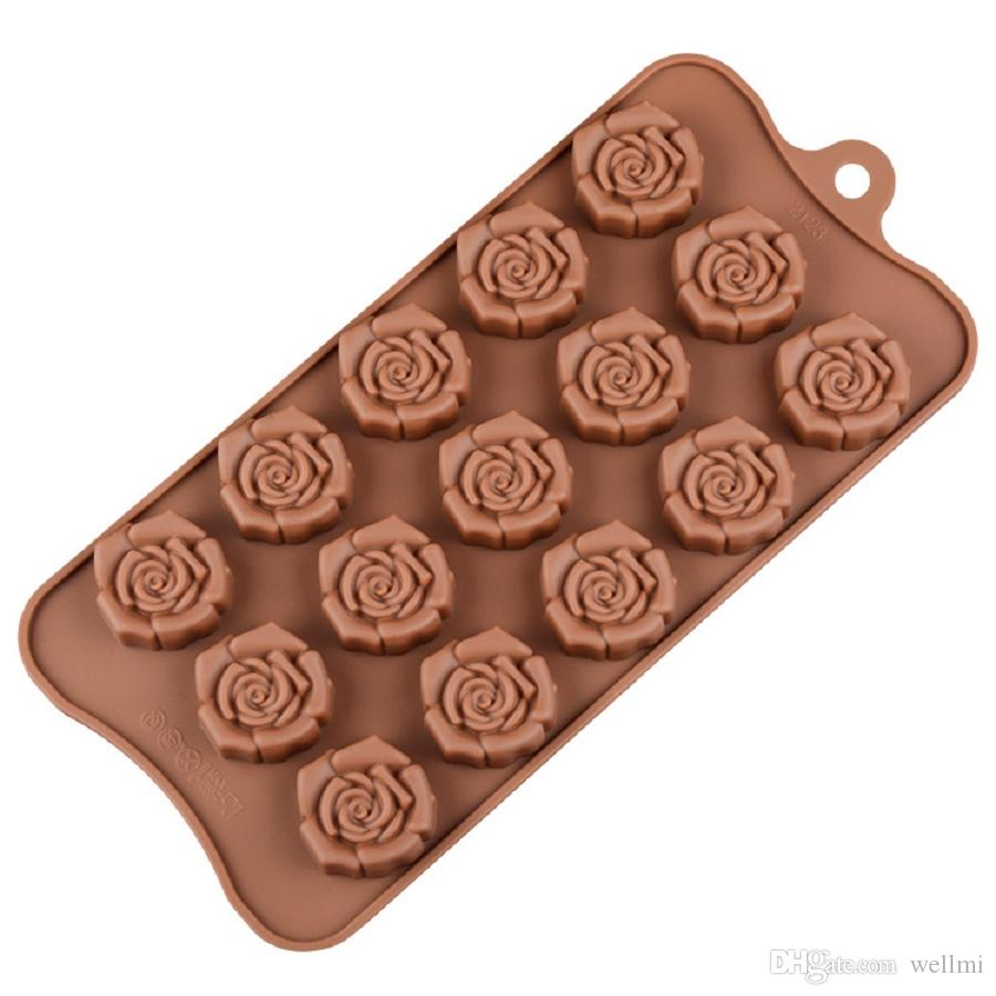 2020 Valentines Day Gift Chocolate Molds Silicone Food Grade Rose Flower Shape Diy Cake Jelly Pudding Molds Baking Tools From Wellmi 3 06 Dhgate Com