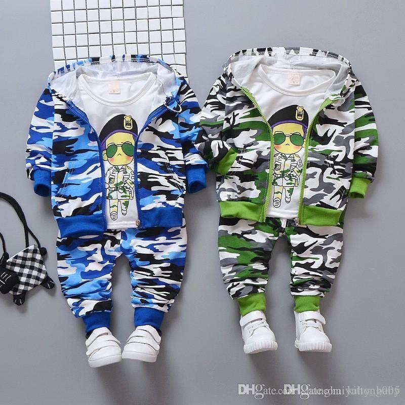 Spring Autumn Children Clothes Baby Girls Boys Camouflage Color Cotton Jacket T-Shirt Pants 3pcs/sets Infant Casual Tracksuits