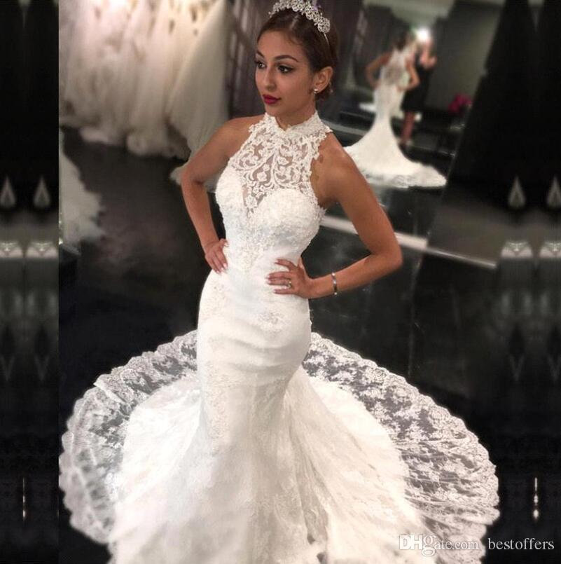 Halter Mermaid Wedding Dresses 2018 New Court Train Vintage Lace Vestido De Novia Summer Garden Bridal Gowns Custom Ba7636 Lace Bridal Dresses Mature