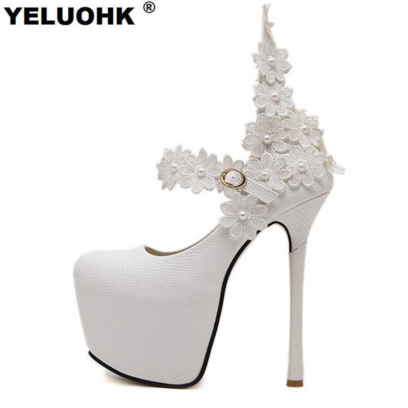 New Fashion Flower Sexy High Heels Wedding Shoes Woman White Shoes Women Pumps 15cm Platform Shoes Bride