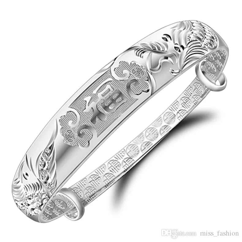 Mode Blessing Silver Armband Bangle Charm Armbanden Etnische Vintage Bangle Dragon Phoenix Blessing Words Open Design
