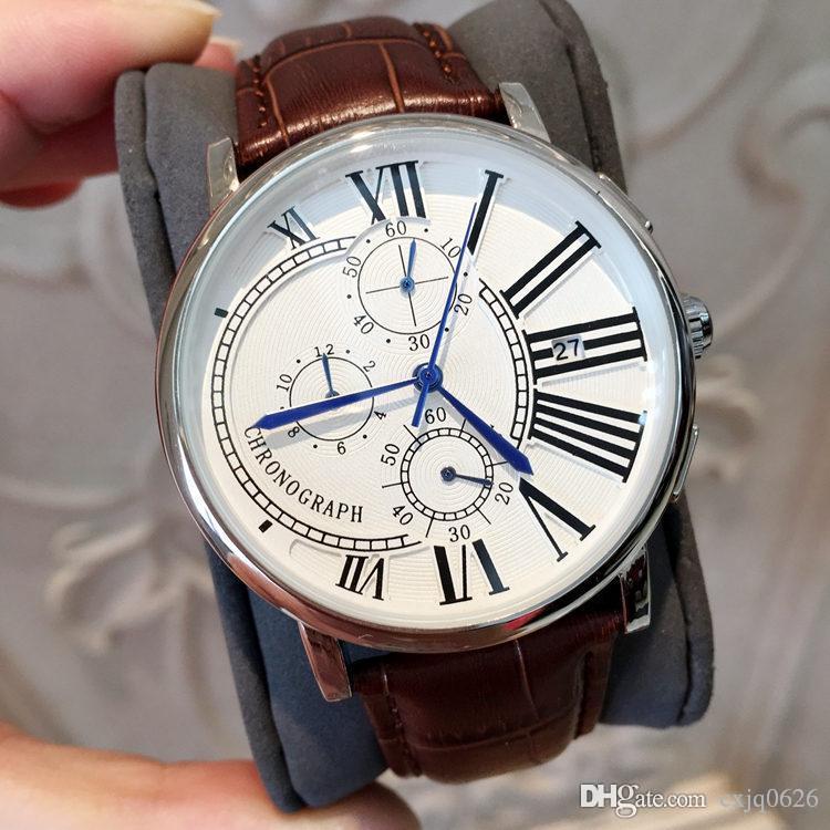 모든 Subdials Work 날짜 복장 시계와 고급 패션 남자 시계 클래식 석영 시계 스포츠 가죽 손목 시계 남자를위한 relojes