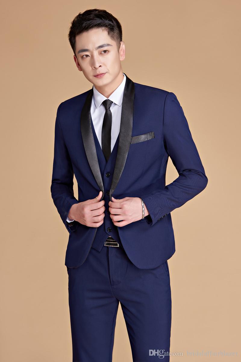 Mens Plus Size Men Suit 5XL Navy Blue Shawl Lapel Two-piece Stage Singer Suit Wear Latest Coat Pant Designs Prom Wedding Suits For Men