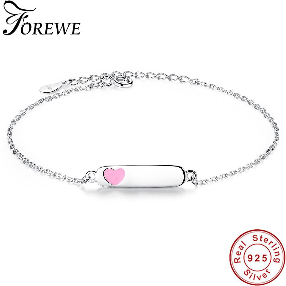 Free Custom Engraved Name Bracelet Personalized Jewelry 925 Sterling Silver Enamel Heart Bracelets & Bangles for Women Children S915