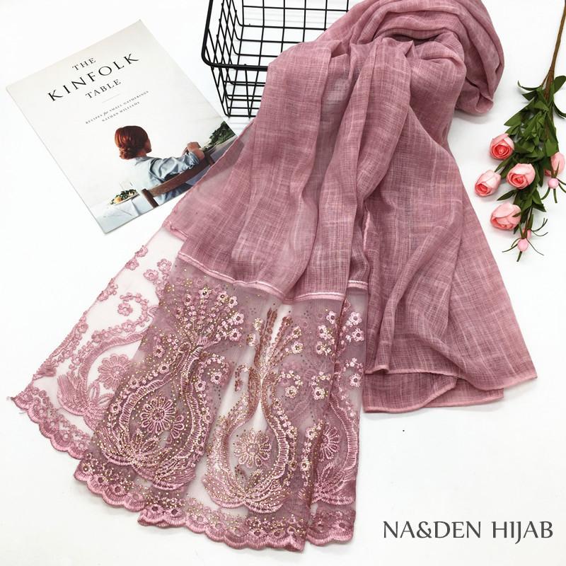 2018 Beautiful Muslim hijab women scarf sparkle Lace edge Gitter Contracted style cotton wraps fashion bandana shawl 10pcs/lot