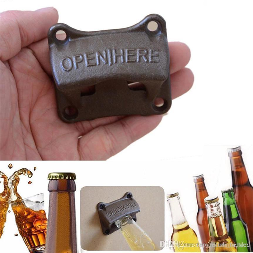 Vintage Bronze Wall Mounted Opener Wine Beer Soda Glass Cap Bottle Opener Kitchen Bar Gift Zinc Alloy
