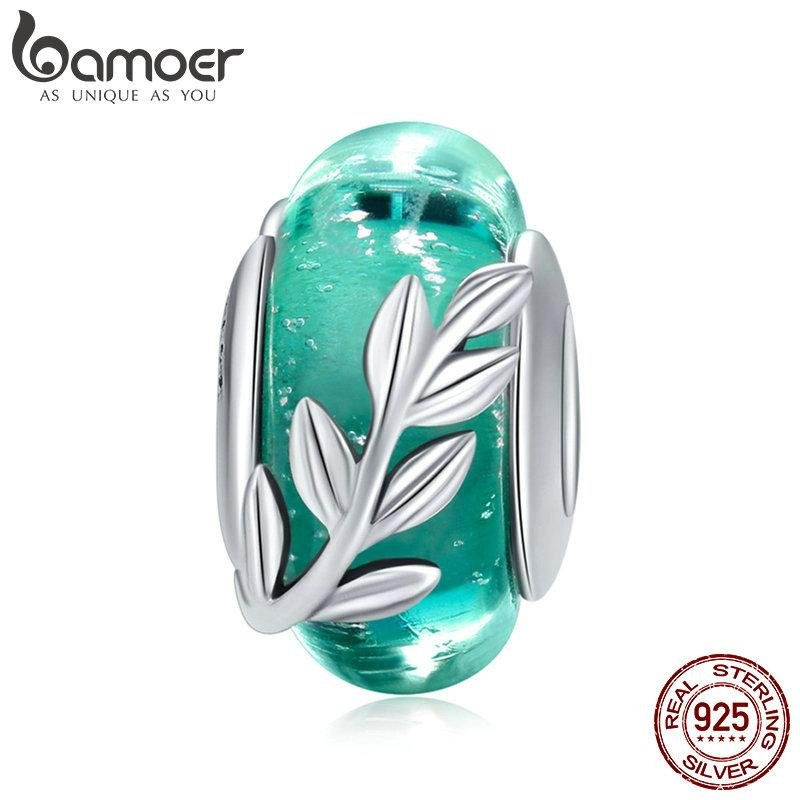 Genuine 925 Sterling Silver Tree Leaves Green Leaf Murano Glass Beads Fit Charm Bracelets & Bangles DIY Jewelry