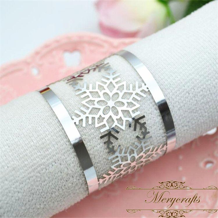 50pcs Free shipping Winter theme party laser cut silver snowflakes Christmas napkin ring