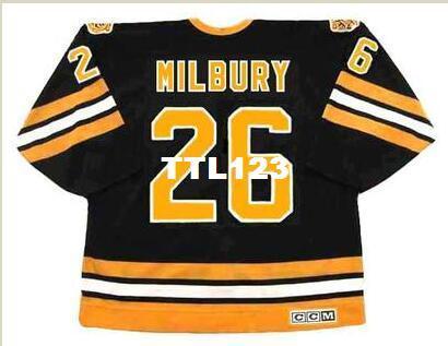 Mens # 26 MIKE MILBURY Boston Bruins 1983 CCM Retro vintage Hóquei Jersey ou personalizado qualquer nome ou número retro Jersey