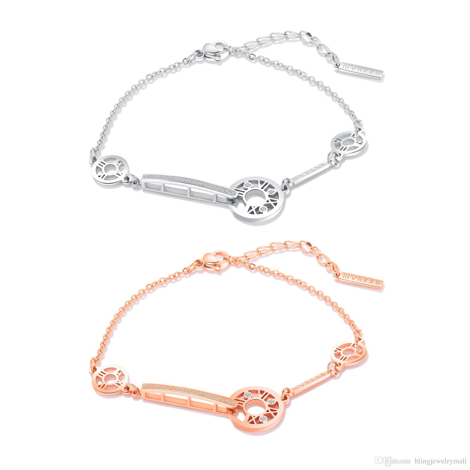 Personality Rose Gold Silver Color Chain Link Women Bracelet Jewelry Fashion Female Bracelets & Bangles Jewelry Gift GS924
